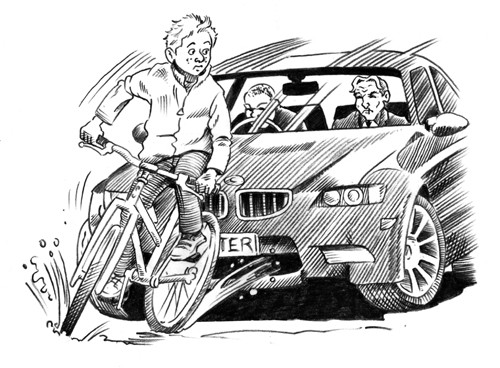 Nick Ward Illustration - nick, ward, nick ward, fiction, paint, painted, commercial, black, white, black and white, black line, black and white line, people, child, children, boy, boys, bike, bicycle, cycling, car