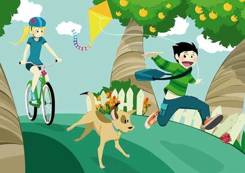 Paula Franco Illustration - paula franco, digital, fiction, educational, tween, teen, teenagers, editorial, people, girls, girly, cycling, cycle, bike, bicycle, kite, boys, dogs
