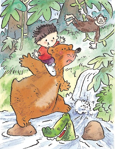 Peter Wilks Illustration - peter, wilks, peter wilks, paint, painted, educational, traditional, watercolour, bear, bears, boy, child, children, boys, jungle, monkey, monkeys