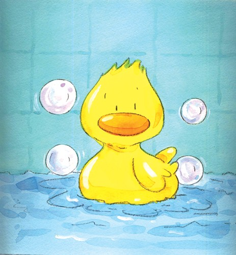 Rachael O'Neill Illustration - paint, painted, traditional, watercolour, watercolor, rachael, rachel, o'neill, rachael o'neill, rachel o'neill, young, novelty, picture book, picturebook, sweet, commercial, duck, ducks, duckie, rubber duckie, bath, bathtime, bubbles, bath time
