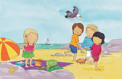 Rachael O'Neill Illustration - paint, painted, traditional, watercolour, watercolor, rachael, rachel, o'neill, rachael o'neill, rachel o'neill, young, novelty, picture book, picturebook, sweet, commercial, child, children, toddler, toddlers, boy, boys, girl, girls, beach, sand, seaside