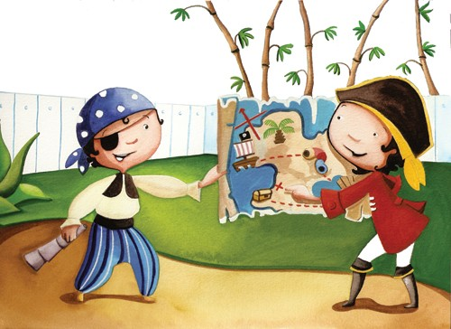 Sandra Aguilar Illustration - sandra, aguilar, sandra aguilar, paint, painted, watercolour, traditional, educational, commercial, child, children, boy, girl, boys, girls, pirate, pirates, treasure, treasure map, map, people