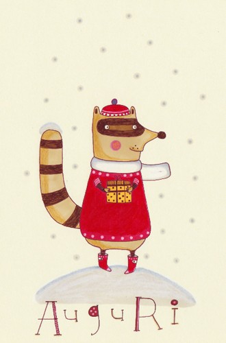 Valeria Valenza Illustration - animal, animals, valeria, valenza, valeria valenza, paint, painted, traditional, decoration, decorative, trade, sophisticated, picture book, picturebook, racoon, racoons, snow, snowing, snowy, winter, christmas, christmas present, animal, animals