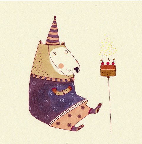 Valeria Valenza Illustration - valeria, valenza, valeria valenza, paint, painted, traditional, decoration, decorative, trade, sophisticated, picture book, picturebook, bear, bears, animal, animals, party, birthday
