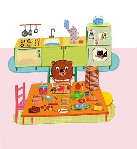 Abigail Adams Illustration - abigail, adams, illustrator, colour, colourful, digital, texture, photoshop, fiction, picture book, board book, young readers, character, bear, hector, child, house, home, kitchen, food, bread, sandwich, jam, table, preparing, lunch, cute, sweet,