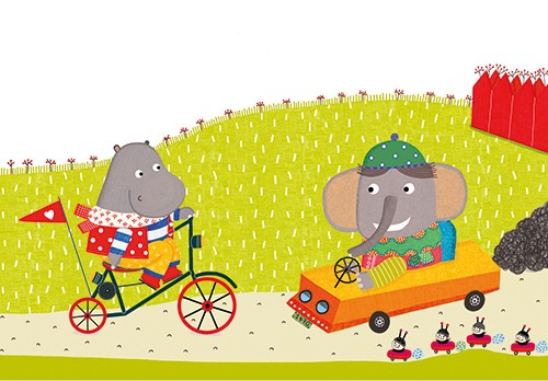 Abigail Adams Illustration - abigail, adams, illustrator, colour, colourful, digital, texture, photoshop, fiction, picture book, board book, young readers, vector, hippo, character, bike, bicycle, riding, path, grass, car, elephant, bugs, friends, cute, nature, animals, transport, dr