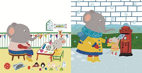 Abigail Adams Illustration - abigail, adams, illustrator, colour, colourful, digital, texture, photoshop, fiction, picture book, board book, young readers, mouse, foster, house, home, new house, character, elephant, writing, learning, table, happy, letter, postbox, posting, snow, win