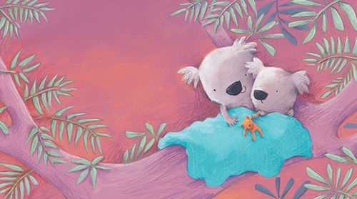 Alison Brown Illustration - alison, brown, alison brown, paint, painted, acrylic, commercial, trade, picture book, picturebook, novelty, mass market, fiction, young reader, YA, animal, cute, sweet, snuggle, cuddle, koala bear, koala, bear, teddy, tree, leaves, branches, blanket