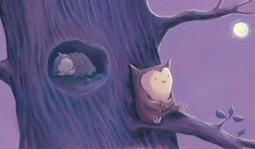 Alison Brown Illustration - alison, brown, alison brown, paint, painted, acrylic, commercial, trade, picture book, picturebook, novelty, moon, leaves,  mass market, fiction, young reader, YA, animal,cute, sweet, owl, bird, baby, mum, tree, sleep, sleeping, night time, night, branch,