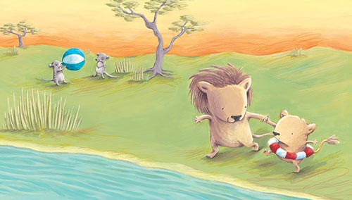 Alison Brown Illustration - alison, brown, alison brown, paint, painted, acrylic, commercial, trade, picture book, picturebook, novelty, mass market, fiction, young reader, YA, animal, sweet, cute, lion, baby, mum , play, swim, ball, trees, water, river, leaves, grass
