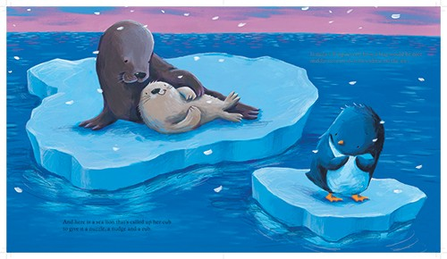 Alison Brown Illustration - alison, brown, alison brown, paint, painted, acrylic, commercial, trade, picture book, picturebook, novelty, mass market, fiction, young reader, YA, animal, penguin, seal, mummy, baby, cute, sweet, night time, bed time, ice, weather, ocean