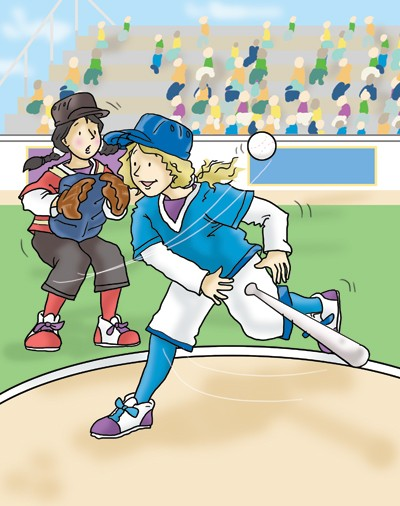 Andrew Geeson Illustration - andrew, geeson, digital, copy artist, photoshop, illustrator, educational, commercial, girl, sports, base ball, crowd, people, busy, bat
