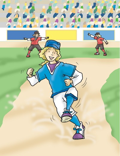Andrew Geeson Illustration - andrew, geeson, digital, copy artist, photoshop, illustrator, educational, commercial, girl, sports, base ball, crowd, people, busy, bat, game, celebration