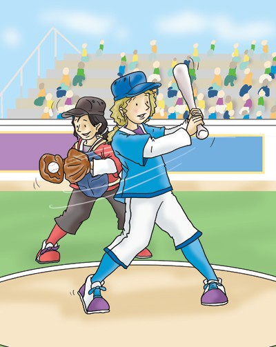 Andrew Geeson Illustration - andrew, geeson, digital, copy artist, photoshop, illustrator, educational, commercial, girl, sports, base ball, crowd, people, busy, bat, catch