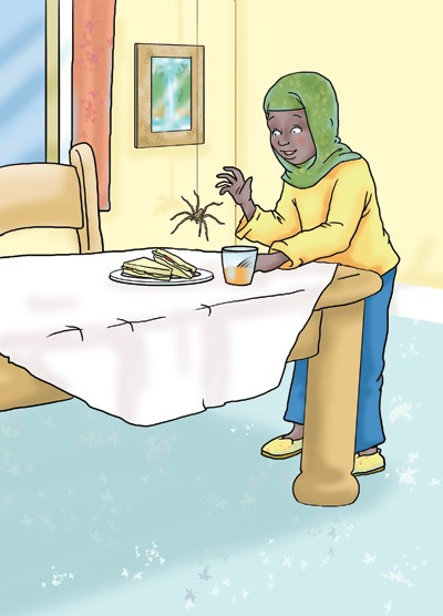 Andrew Geeson Illustration - andrew, geeson, digital, copy artist, photoshop, illustrator, educational, novelty, board book, woman, table, eating, sandwich, juice, spider, scary
