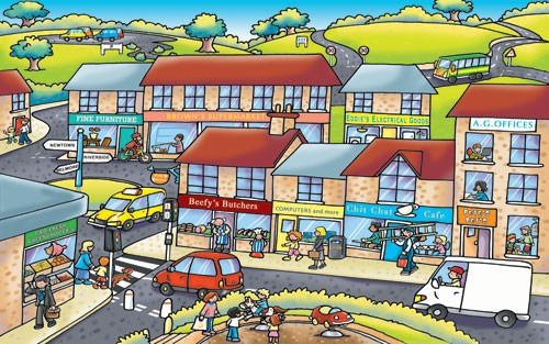 Andrew Geeson Illustration - andrew, geeson, digital, copy artist, photoshop, illustrator, educational, novelty, board book, town, buildings, busy, people, bike, city, shops, shopping, hills, roads, trees, grass