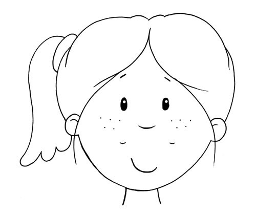 Andrew Geeson Illustration - andrew, geeson, digital, copy artist, photoshop, illustrator, educational, novelty, board book, b&w, black&white, colouring book, characters, girl, face,