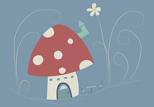 Ana Garcia Illustration - ana, garcia, ana garcia, commercial, educational, fiction, mass market, novelty, board books, activity, puzzle, digital, photoshop, illustrator, houses, homes, toadstools, mushrooms, flowers,