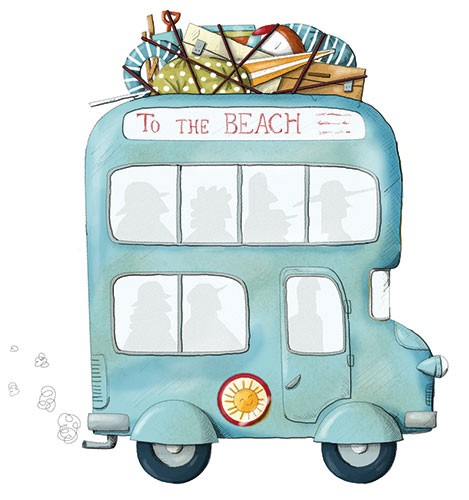 Ana Garcia Illustration - ana, garcia, ana garcia, commercial, educational, fiction, mass market, novelty, board books, activity, puzzle, digital, photoshop, illustrator, bus, sea, transport, beach, holiday, summer,