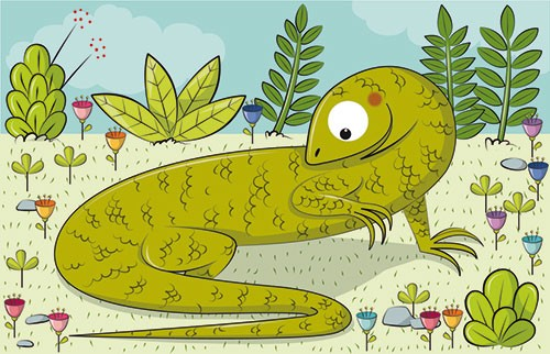 Ana Garcia Illustration - ana, garcia, ana garcia, commercial, educational, mass market, novelty, board books, activity, puzzle, board games, digital, photoshop, illustrator, lizard, animals, wildlife, scales, flowers, plants, trees, outdoors