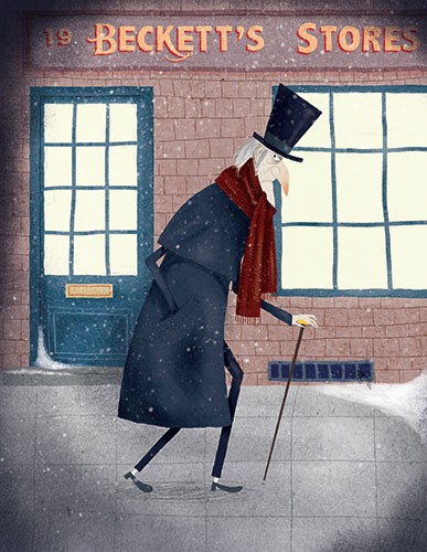 Ana Garcia Illustration - ana garcia, commercial, fiction, mass market, digital, illustrator, colourful, colour, traditional, winter, festive, seasonal, A Christmas Carol, classic, dickens, charles dickens, man, scrooge, walking, cane, street, snow, grumpy, character, hat, scarf,