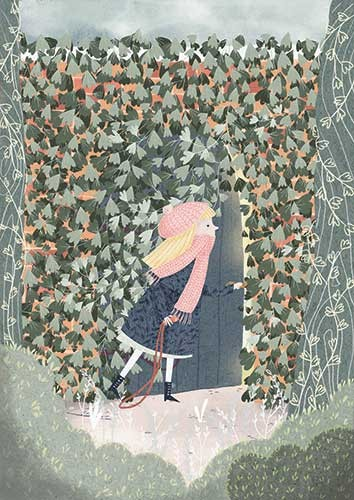 Ana Garcia Illustration - ana garcia, texture, traditional, painted, digital, fiction, colour, colourful, pencil, commercial, classic, story, girl, mary, the secret garden, character, door, adventure, secret, garden, vines, leaves, hedge, glow, entrance, nature, plants, flowers, t