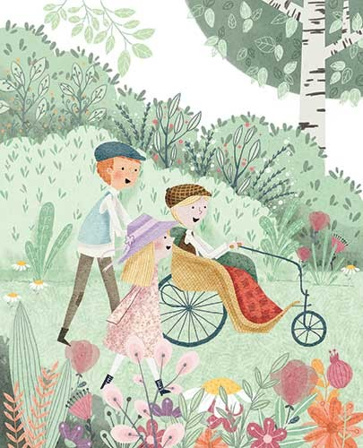 Ana Garcia Illustration - ana garcia, texture, traditional, painted, digital, fiction, colour, colourful, pencil, commercial, classic, story, girl, mary, the secret garden, characters, boys, dickon, colin, wheelchair, garden, nature, plants, flowers, bushes, trees, running, happy,