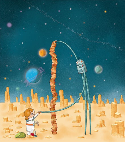 Ana Garcia Illustration - ana, garcia, ana garcia, commercial, educational, mass market, novelty, board books, activity, puzzle, board games, digital, photoshop, illustrator, young, YA, young reader, robot, girl, child, cute, sweet, space