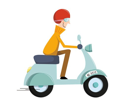Ana Garcia Illustration - ana, garcia, ana garcia, commercial, educational, mass market, novelty, board books, activity, puzzle, board games, digital, photoshop, illustrator, man, moped, motorcycle, vehicle, bike, helmet, goggles, jumper, fast