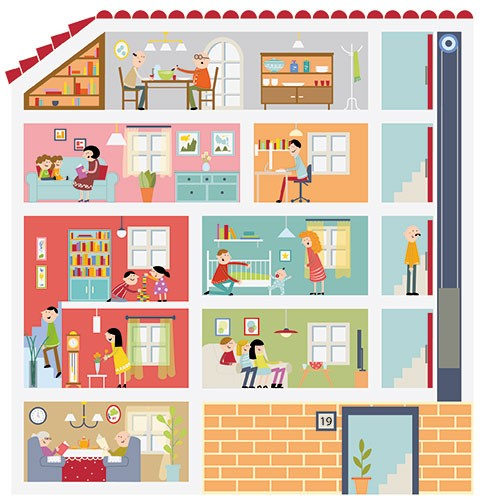 Ana Garcia Illustration - ana, garcia, ana garcia, commercial, educational, mass market, novelty, board books, activity, puzzle, board games, digital, photoshop, illustrator, house, building, flats,  busy, people, families, woman, man, children, boy, girl, play, eating, food, home