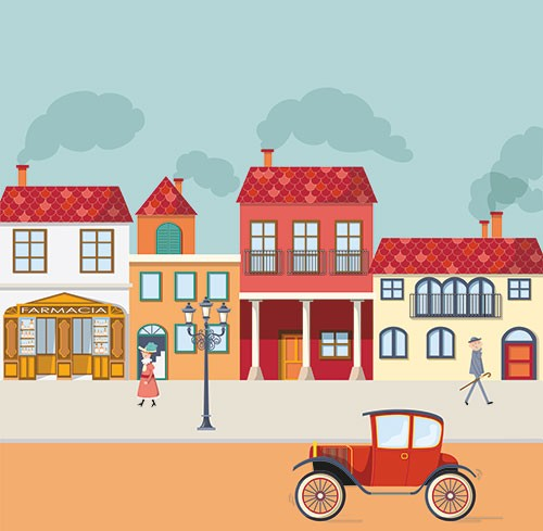 Ana Garcia Illustration - ana, garcia, ana garcia, commercial, educational, mass market, novelty, board books, activity, puzzle, board games, digital, photoshop, illustrator, town, buildings, shops, car, woman, man, pharmacy, smoke, history