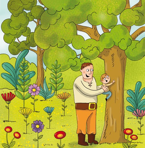 Ana Garcia Illustration - ana, garcia, ana garcia, commercial, educational, mass market, novelty, board books, activity, puzzle, board games, digital, photoshop, illustrator, people, father, son, dad, boy, young, family, garden, flowers, trees, plants, climbing