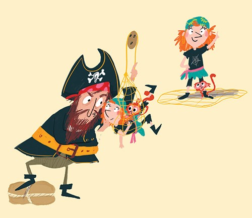 Ana Gomez Illustration - ana, gomez, ana gomez, picture books, children's books, comics, cartoons, colourful, bright, illustrator, pirates, girl, pirate, child, captain, monkey, pet, fun, captured, net