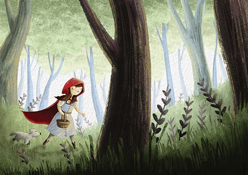 Amberin Huq Illustration - Amberin Huq, Amberin, Huq, illustration, pencil, drawing, photoshop, colour, colourful, digital, commercial, mass market, fiction, classic, fairytale, story, red riding hood, girl, person, figure, cape, hood, forest, trees, woods, basket, dog, pet, friend
