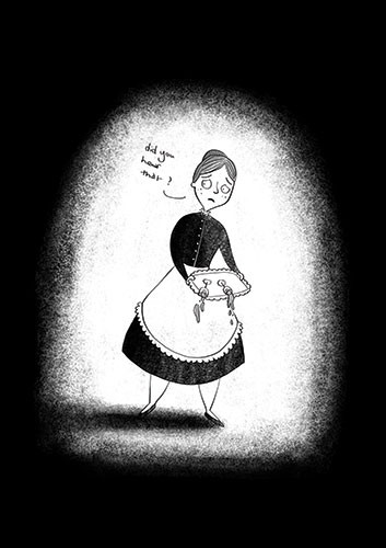 Amberin Huq Illustration - Amberin Huq, Amberin, Huq, illustration, pencil, drawing, photoshop, black and white, b&w, digital, commercial, mass market, fiction, woman, person, figure, maid, scared, tray, drinks, spill, nervous, spooky, dark, light, shadow,