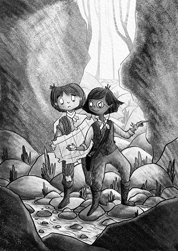 Amberin Huq Illustration - Amberin Huq, Amberin, Huq, illustration, pencil, drawing, photoshop, black and white, b&w, digital, commercial, mass market, fiction, adventure, girl, boy, man, woman, people, map, explorers, rocks, nature, stream, water, monocle, rope, plants, trees