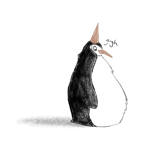 Amberin Huq Illustration - Amberin Huq, Amberin, Huq, illustration, pencil, drawing, photoshop, colour, colourful, digital, commercial, mass market, fiction, penguin, animal, hat, party hat, sigh, sad, wild, black and white, b&w, beak