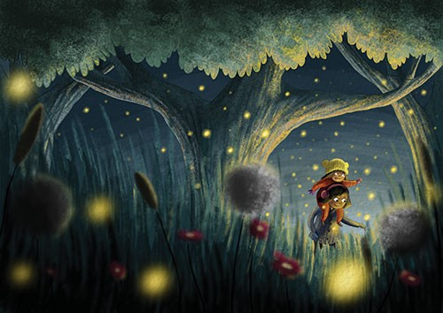 Amberin Huq Illustration - Amberin Huq, Amberin, Huq, illustration, pencil, drawing, photoshop, colour, colourful, digital, commercial, mass market, girls, people, figures, love, sisters, friends, fireflies, lightning bugs, woods, trees, forest, flowers, plants, magic, glow, lights