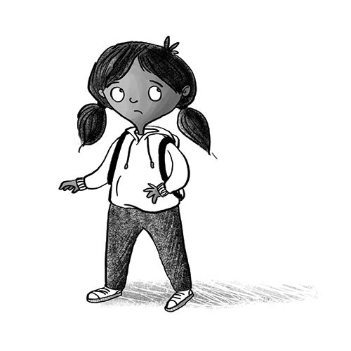 Amberin Huq Illustration - Amberin Huq, Amberin, Huq, illustration, pencil, drawing, photoshop, black and white, b&w, digital, commercial, mass market, fiction, girl, character, person, figure, worried, anxious, nervous, emotions, backpack, rucksack,
