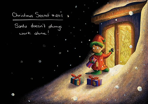 Amberin Huq Illustration - Amberin Huq, Amberin, Huq, illustration, pencil, drawing, photoshop, colour, colourful, digital, commercial, mass market, fiction, christmas, seasonal, festive, snow, elf, secret, magical, presents, gifts, window, dark, light, christmas tree, tree, hat, g
