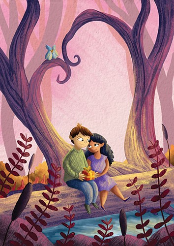 Amberin Huq Illustration - Amberin Huq, Amberin, Huq, illustration, pencil, drawing, photoshop, colour, colourful, digital, commercial, mass market, fiction, couple, man, woman, love, present, gift, forest, trees, woods, river, water, log, hug, cuddle, reeds, plants, birds, heart,