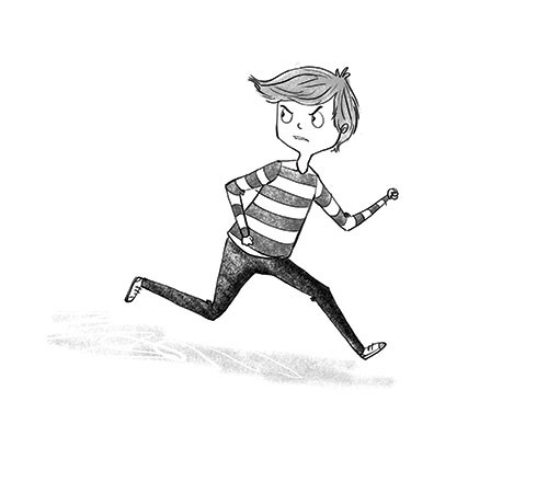 Amberin Huq Illustration - Amberin Huq, Amberin, Huq, illustration, pencil, drawing, photoshop, black and white, b&w, digital, commercial, mass market, fiction, boy, child, figure, character, running, angry, annoyed, emotions, feelings, stripes,