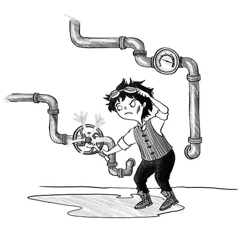 Amberin Huq Illustration - Amberin Huq, Amberin, Huq, illustration, pencil, drawing, photoshop, colour, colourful, digital, commercial, mass market, fiction, boy, child, person, man, figure, engineer, steam, pumps, wrench, water, pipes, goggles, working, steampunk,