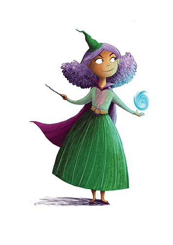 Amberin Huq Illustration - Amberin Huq, Amberin, Huq, illustration, pencil, drawing, photoshop, colour, colourful, digital, commercial, mass market, fiction, cute, sweet, witch, woman, figure, person, magic, spells, wand, hat, cape, purple, hair, dress, halloween, fantasy,