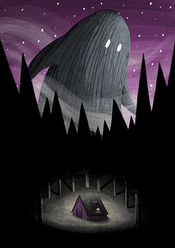 Amberin Huq Illustration - Amberin Huq, Amberin, Huq, illustration, pencil, drawing, photoshop, colour, colourful, digital, commercial, mass market, fiction, nature, woods, forest, nighttime, dark, stars, purple, sky, cabin, house, ghost, hill, monster, creature, giant, fantasy, ma