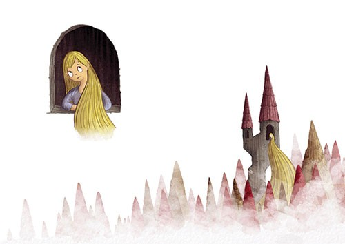 Amberin Huq Illustration - Amberin Huq, Amberin, Huq, illustration, pencil, drawing, photoshop, colour, colourful, digital, commercial, mass market, fiction, classic, fairytale, story, rapunzel, hair, tower, hidden, secret, sad, trees, clouds fog, mist, girl, character, figure,