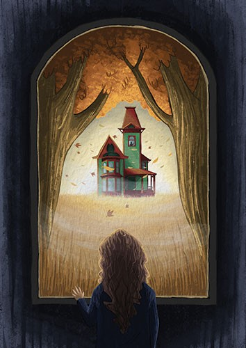 Amberin Huq Illustration - Amberin Huq, Amberin, Huq, illustration, pencil, drawing, photoshop, colour, colourful, digital, commercial, mass market, fiction, house, autumn, seasonal, fall, leaves, trees, girl, person, figure, window, watching, wheat, field, dark, sun, home, buildin