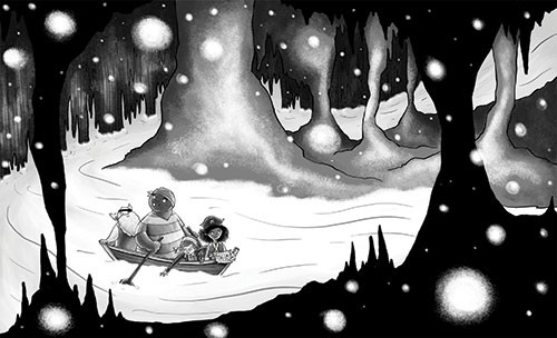 Amberin Huq Illustration - Amberin Huq, Amberin, Huq, illustration, pencil, drawing, photoshop, black and white, b&w, digital, commercial, mass market, fiction, adventure, cave, orbs, glowing, lights, river, water, boat, pirates, people, men, girl, boy, children, rowing, dark, exci