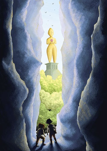 Amberin Huq Illustration - Amberin Huq, Amberin, Huq, illustration, pencil, drawing, photoshop, colour, colourful, digital, commercial, mass market, fiction, adventure, figures, people, rocks, cliffs, statue, trees, travellers, travelling, caves