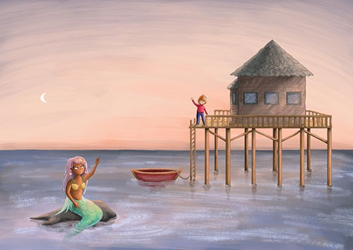 Amberin Huq Illustration - Amberin Huq, Amberin, Huq, illustration, pencil, drawing, photoshop, colour, colourful, digital, commercial, mass market, fiction, adventure, fantasy, mermaid, magical, creature, boy, house, water, ocean, floating, boat, sunset, sky, moon, waves, rock, wa